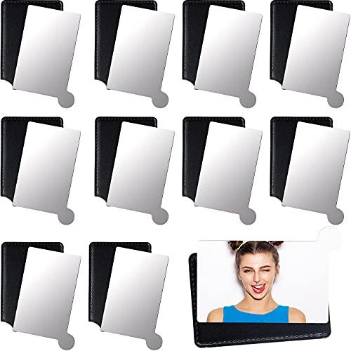 10 Piezas Espejos Compactos de Bolsillo con Estuche de Cuero Negro Espejo de Bolsillo de Mano Fácil de Llevar para Mujeres, Hombres