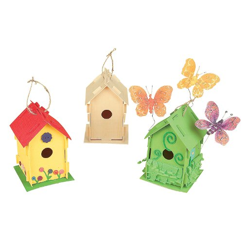 Fun Express DIY Wooden Birdhouse Kits (Bulk Set of 12) Unfinished Paintable Bird House for Kids to Build