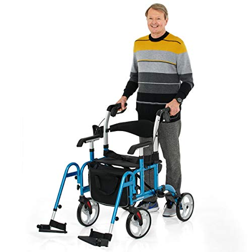 OasisSpace 2 in 1 Rollator Walker with Footrest - Transport Walker Chair with 10 inch Wheels, Mobility Rollator with Adjustable Handle and Reversible Backrest for Adult