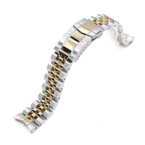 Strapcode Uhrenarmband 20mm Angus Jubilee 316L Edelstahl Uhrenarmband für Seiko Alpinist SARB017, Two Tone IP Gold, Submariner Verschluss