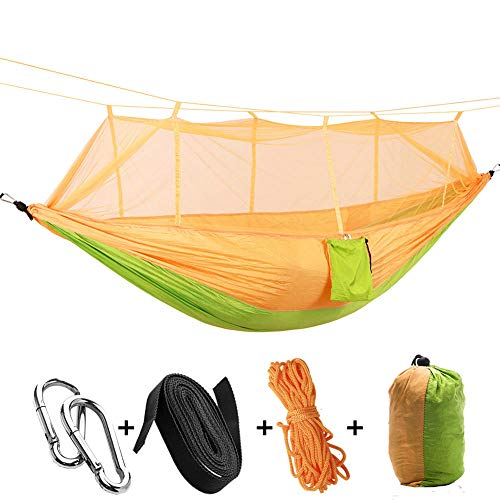 HUANXI MultifunctionDoubleSwing Net with Storage Bag + Strap,300kg Load Capacity (260x140cm) Yellow Standing Hammock for Outdoor Backpacking Travel Beach Garden Yard