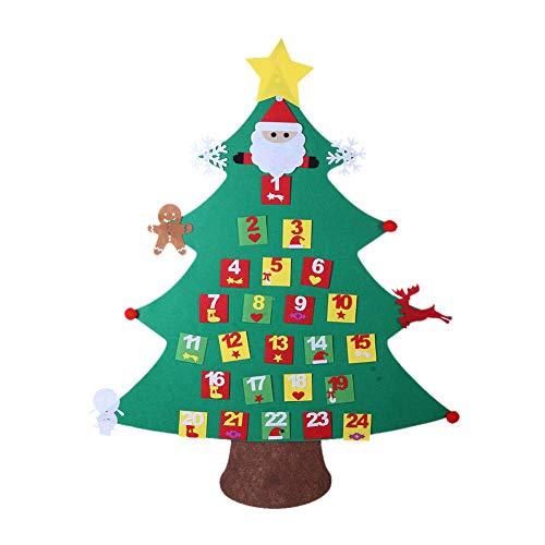 Guoyajf Feutre De Bricolage Ensemble D'arbres De Noël pour Enfants, Arbre De Noël Bricolage De 125 Cm avec Ornements De Noël Détachables, Cadeaux De Noël, Décorations Suspendues,Calendar
