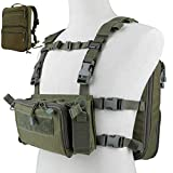 DETECH Tactical Vest Airsoft Ammo Chest Rig 5.56 9mm Magazine Carrier with Molle Flatpack Backpack