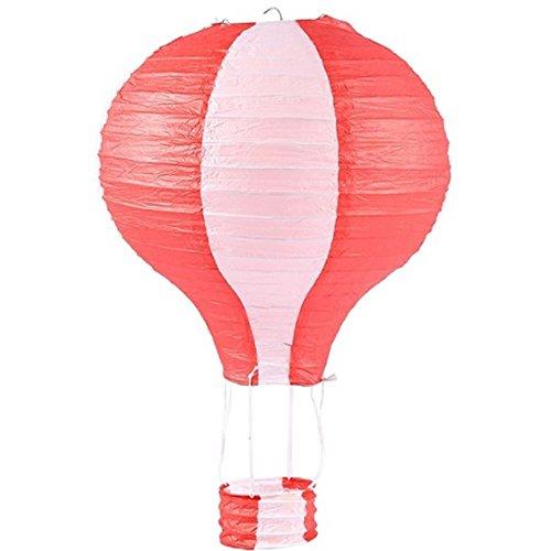takestop® Lantaarn Mongolfiera set 2 lantaarns 25 cm rood van papier c4242 om op te hangen decoratieve lamp Party Verjaardag Party Verjaardag