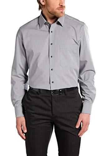 eterna Langarm Hemd Comfort Fit Chambray Unifarben, Silbergrau, W44, 17 1/2 Long Sleeve