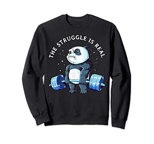 Funny Panda The Struggle is Real Bear Deadlift Funny Gym Sudadera
