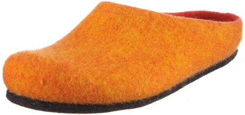 MagicFelt Hausschuh AN 709 aus Reiner Schurwolle - Damen und Herren Pantoffeln - rutschfest und anatomisch geformt in Orange (orange 4807), EU 42