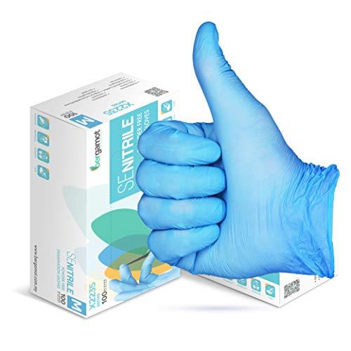 BERGAMOT - Guantes de Nitrilo azules, Sin polvo, Desechables, 100 unidades, LATEX FREE (talla L) Pack de uso Universal, para Cocina, Trabajo, Jardin, profesiones relacionadas con la Salud, etc.