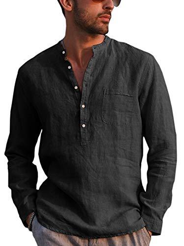 Gemijacka Hemd Herren Langarm Henley Leinenhemd Herren Freizeithemd mit Brusttasche Regular Fit Men Shirts, Schwarz, XL
