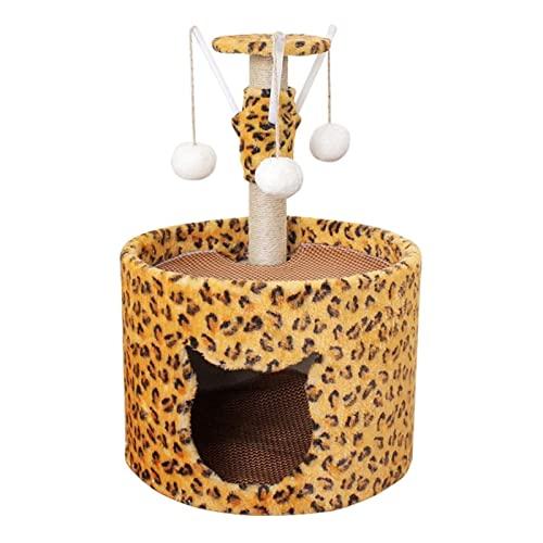 ZLQBHJ Torre de Barril de condominio de Gato de 2 Capas, 6 0cm Árbol de Actividad de Gato for Mascotas, Jugando Relajarse y Dormir, Gato rasguñando Muebles de Gato Poste con Juguetes Colgantes