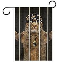 ホームガーデンフラッグ両面春夏庭の屋外装飾 28x40in,刑務所に投獄されたターバンの悪い猫