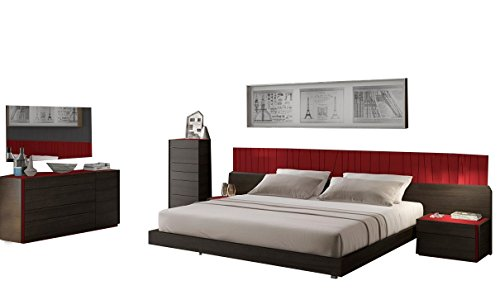 Review J&M Furniture Lagos Premium King Bedroom Set in Wenge & Red Gloss, 5-Piece