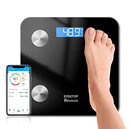 Digitale Personenwaage, EZGETOP körperfettwaage, Ultraschlanke Körperwaage mit Körperfettanalyse iOS und Android APP Smart Digitale Waage (Schwarz)