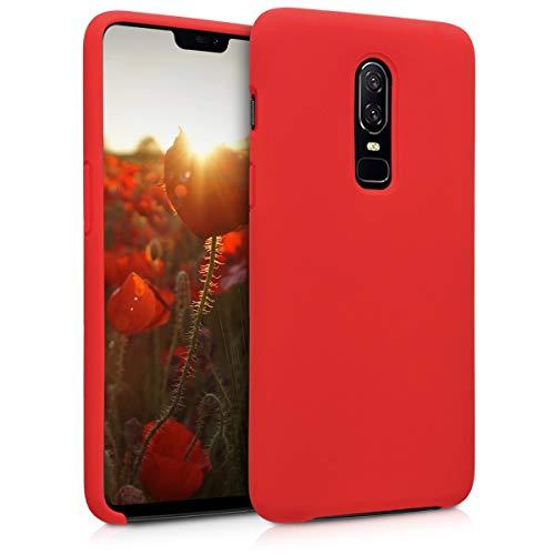 kwmobile Custodia Compatibile con OnePlus 6 - Cover in Silicone TPU - Back Case per Smartphone - Protezione Gommata Rosso