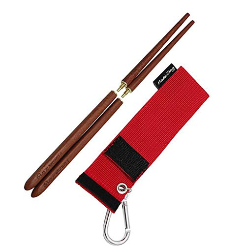 Hawk Zing Detachable Collapsible Foldable Wood Square Chopsticks Rosewood Portable Outdoor Utensils W/Storage Bag W/Carabiner (Type A, 1 Pair)