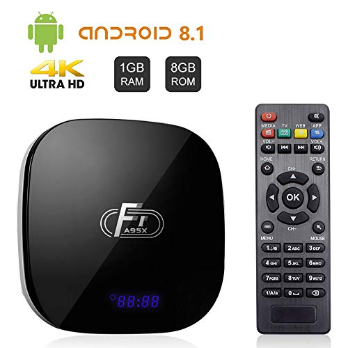 Android TV Box, A95X F1 Android 8.1 TV BOX 1GB RAM/8GB ROM Amlogic S905W Quad-Core Supporto 2.4Ghz WiFi 4K HDMI DLNA 3D Smart TV BOX