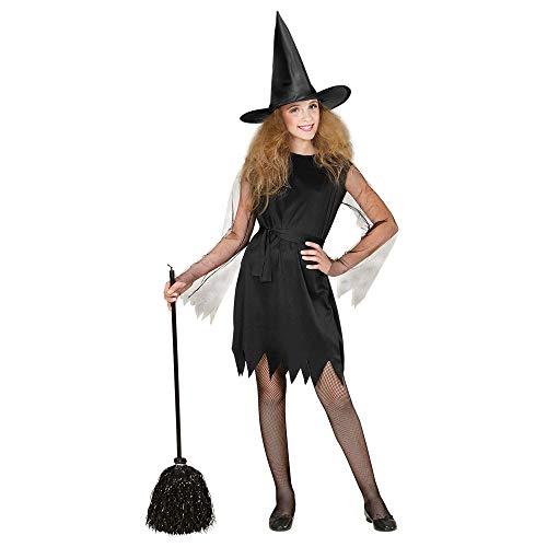 WIDMANN- Bruja con Sombrero Disfraz para niño, Color Negro, M (00247)