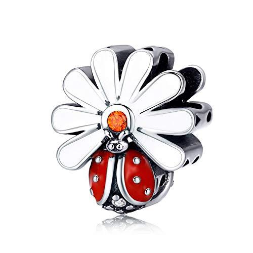 Pandora 925 colgante de plata esterlina DIY mariquita con cuentas de flores de margarita para Wo n Silver Ena l Charm fit pulsera joyería