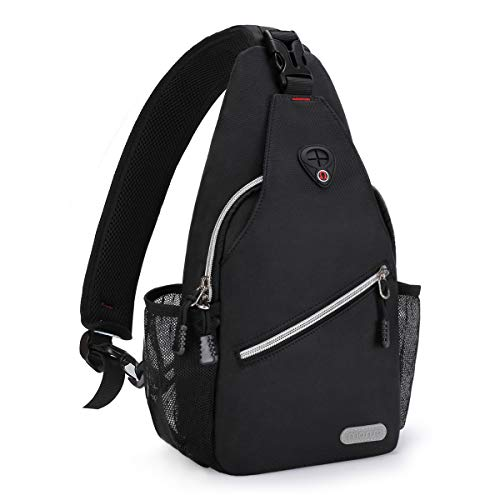 MOSISO Mini Sling Backpack,Small Hiking Daypack Travel Outdoor Casual Sports Bag, Black