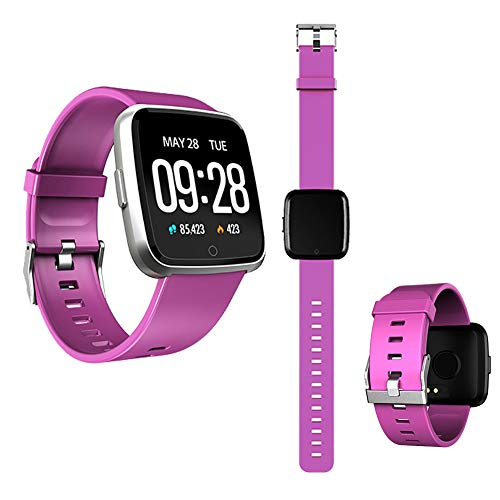 YRRC Color Screen Smart Bracelet, Heart Rate Blood Pressure Waterproof Bluetooth Call Reminder Table and Pedometer Sleep Monitor for Android and Ios,Purple
