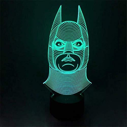 3D LED Illusion Lumière Nouveauté Batman Clown Sourires Double Face 7 Couleurs Télécommandé Dimensionnelle Lumière Optique Veilleuses Lampe de Table Ambiance Décoration Enfants Cadeaux D'anniversaire