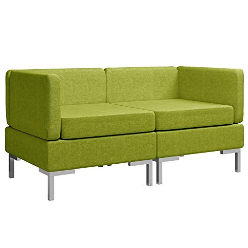 Goliraya 2 Sofás modulares en Tela Gris Oscuro/Verde/Gris Taupe, sofá Modular Moderno con 2 plazas en Tela, sofá para Sala de Estar Moderna, sofá de 2 plazas en Tela, sofá para Sala de Estar Moderna