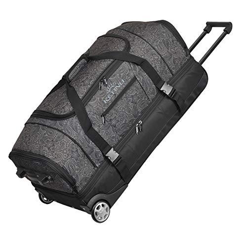 KEANU Reisetrolley Rollen Reisetasche :: XL Trolley Scooter :: 85 Liter Volumen, 2 getrennte Hauptfächer, Wäsche- Schuhfach, Seitentasche, Vordertasche (Black Jacquard)