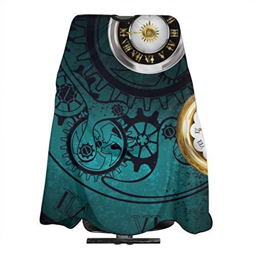 Steampunk-Schmuck, antike Uhr mit Goldketten auf dem Grün gemasert. Haarschnitt Friseur Cape Tuch Schürze Haar Styling Friseur Cape Barber Salon 66X55 Zoll