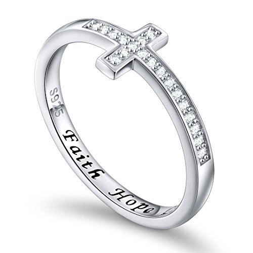 Inspirational Jewelry Sterling Silver Engraved Faith Hope Love CZ Sideway Cross Ring, Size 5