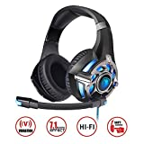SADES,R16 PC Gaming Headset 7.1 Surround Stereo PC Pro USB Over Ear Headset with High Sensitivity Mic Vibration.Black&red Black&red