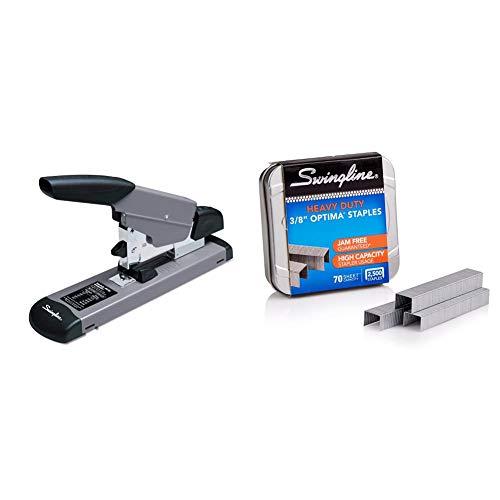 """Swingline Heavy Duty Stapler, 160 Sheet High Capacity, Durable Office Desk Staplers, Black/Gray (39005) & Staples, Optima, Heavy Duty, 3/8"""" Length, Jam Free, 125/Strip, 2500/Box, 1 Box (35550)"""