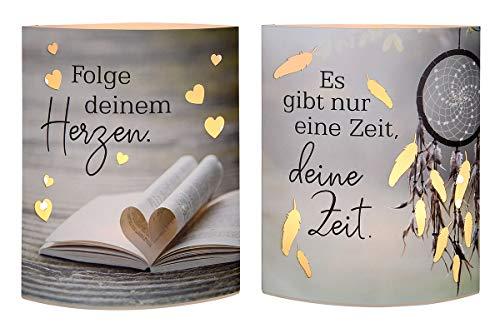 GILDE 2X LED-Laterne Herzen & Zeit Papier Höhe 16 cm farbmix, Tischdeko, Geschenk