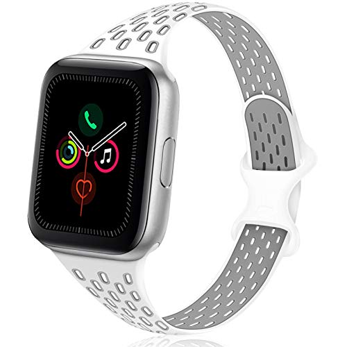 TRA Sport Slim Silicone Band Compatible for Apple Watch Band 38mm 42mm 40mm 44mm, Thin Breathable Narrow Replacement Strap Wristband for iWatch Series SE/6/5/4/3/2/1 (White/Gray, 42mm/44mm)