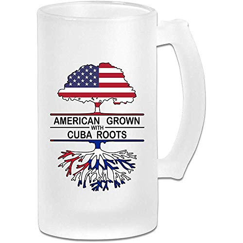 American Grown with Cuba Roots Frosted Glass Stein Beer Mok, Pub Mok, Drank Mok, Gift for Beer Drinker, 500Ml (16.9Oz)
