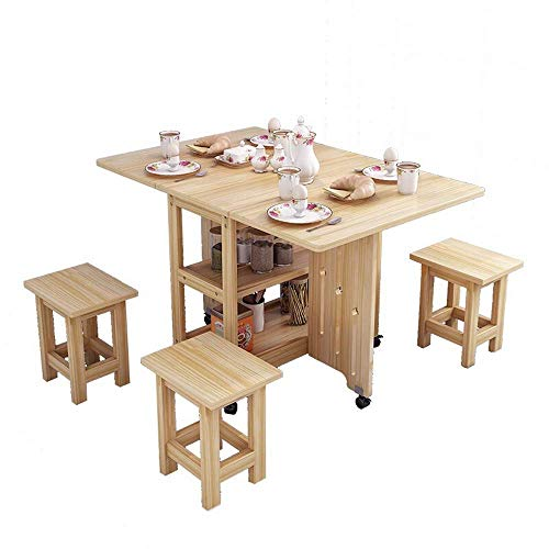 Renovación del hogar Cocina Mesa de comedor Mesa de comedor plegable multifuncional con 4 sillas Combinación de apartamento pequeño Mesa de comedor retráctil para el hogar con estante (Color: Mader