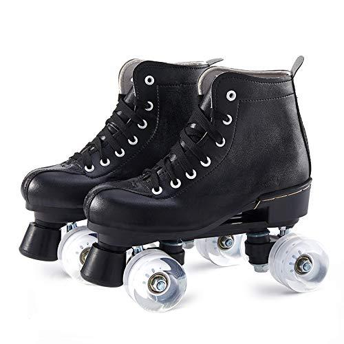 SummarLee Rollschuhe für Damen Herren, Skate Gear Softboot Rollschuhe, Retro High Top Design, Schwarze Leder Indoor Outdoor Rollschuhe Vier Rollschuhe, Blinkend