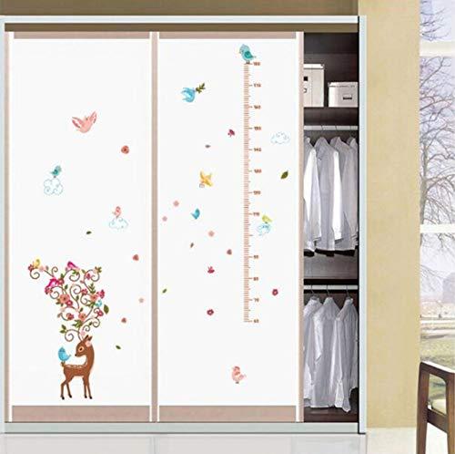 Pájaro de dibujos animados sika ciervo pegatina de altura habitación de los niños dormitorio medidor de altura pegatinas de pared decoración del hogar 135 * 80 cm
