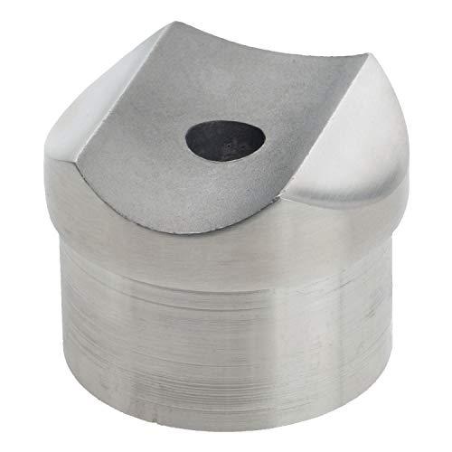 CROSO Adapter für Geländer | passend für Rundrohr Ø 42,4 mm | Sattelmaß (oben) für Rundrohr Ø 42,4 mm | Edelstahl V2A geschliffen | 1 Stück