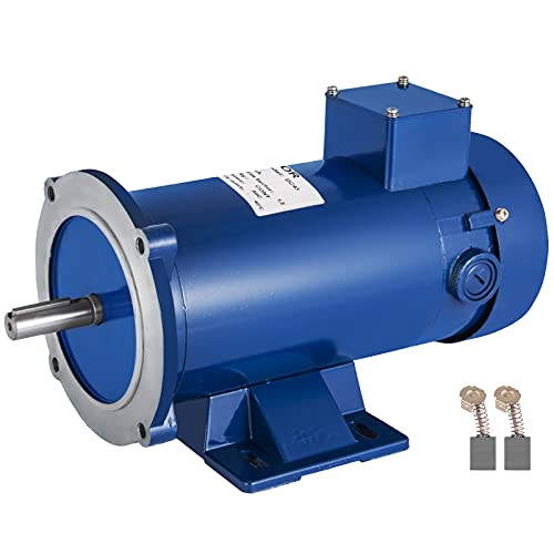 VEVOR 3/4HP 90V DC Motor 56C Frame Rated Speed 1750RPM TEFC Permanent Magnet DC Motor with Carbon Brushes