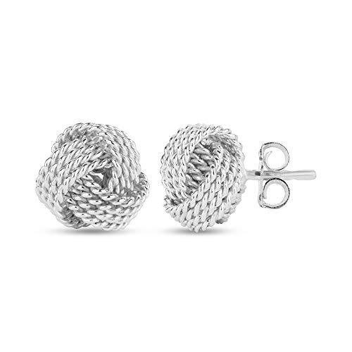LeCalla Sterling Silver Jewelry Design Italiano Diamante-Cut Wire Love Knot Orecchini per le donne