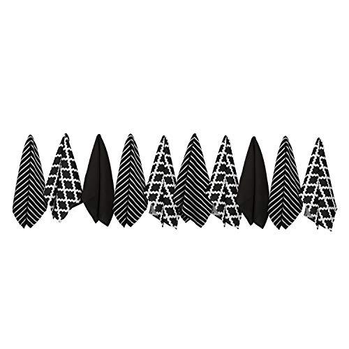 Penguin Home 3471 Ensemble de 10 Serviettes 100% Coton-Doux-Durable-Modèle Noir élégant avec de Multiples Motifs-Lavable en machine-65 x 45 cm, Paquet torchons