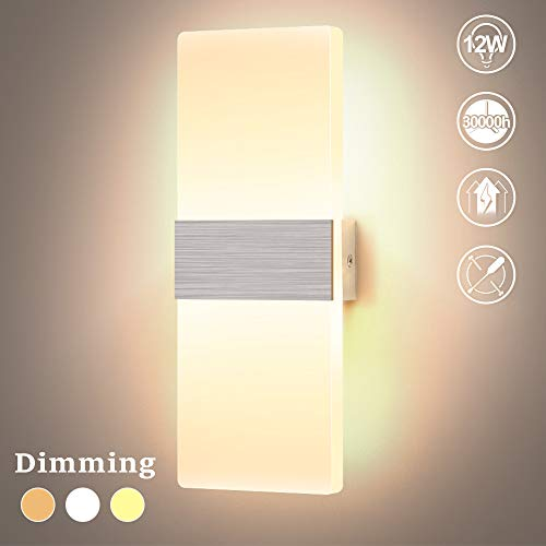 Lightess Apliques de Pared Regulable LED 12W Lámpara de Pared Moderno Luz de Puro Aluminio Iluminación Interior para Dormitorio, Pasillo, Entrada, Corredor, 3 Temperaturas de Colores
