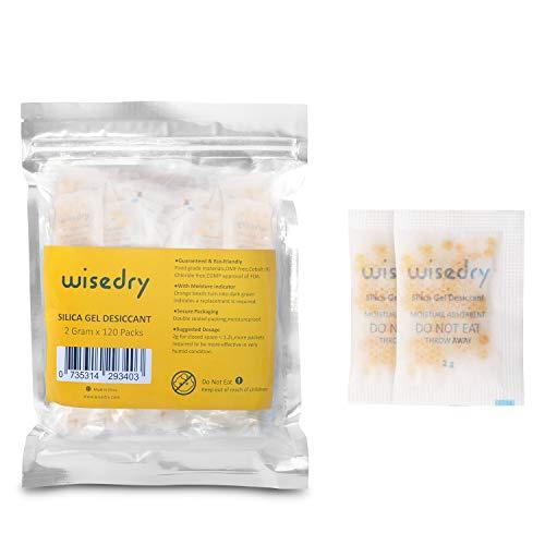 2 Gramm [120 Packungen] Wisedry kleine Kieselgel Sachets Desiccant Packungen für Lebensmittellagerung Feuchtigkeit Absorber Taschen für Gun Safes Closet Tools Lagerung Lebensmittel Qualität