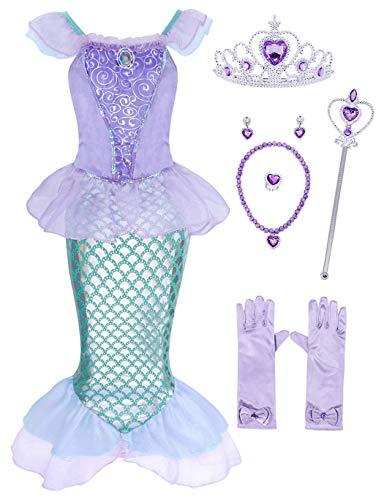 AmzBarley Sirenita Disfraz Niña Cumpleaños Princesa Sirena Vestido Niña Boda Fiesta Cosplay Halloween Navidad Carnaval Bautizo