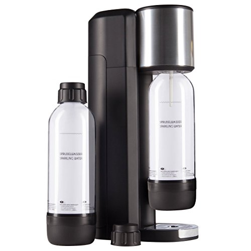 Levivo Wassersprudler Set / Trinkwassersprudler Starter Set inkl. 2 Sprudlerflaschen aus PET, klassischer Sodabereiter für individuelles Zusetzen von Kohlensäure in Leitungswasser, Schwarz