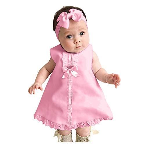 Kobay Neugeborenes Baby ärmelloses lässiges Maxi-Schleifenkleid + Stirnband-Set-Outfit
