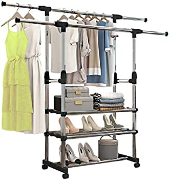 Untyo 3 Tiers Garment Rack on Wheels for Hanging Clothes