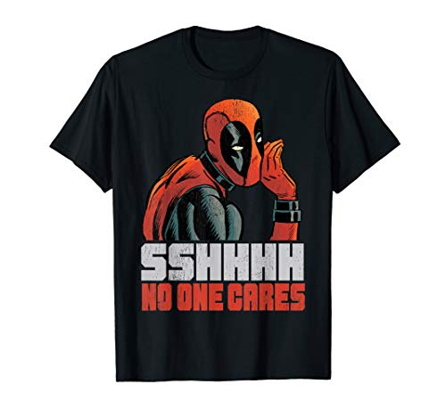 Marvel Deadpool SSHHHH No One Cares Whisper Graphic T-Shirt T-Shirt