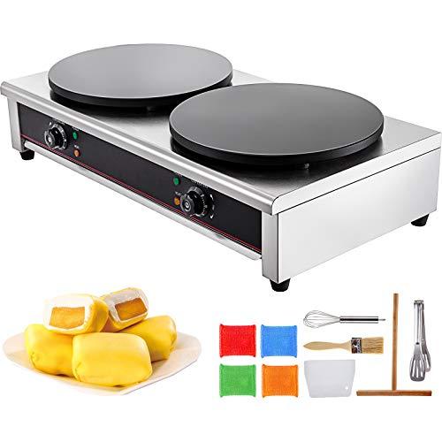 VBENLEM Commercial Crepe Maker 15.7-Inch Electric Crepe Maker 6KW Industrial Crepe Maker with Double Diameter Heating Plates 110V 50-300℃ for Pancake Pan Griddle