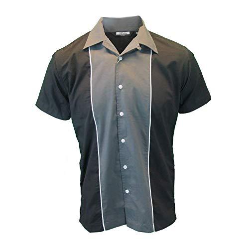Relco Herren dunkelgrau grau & schwarz Bowling Hemd - Dunkelgrau, XXX-Large